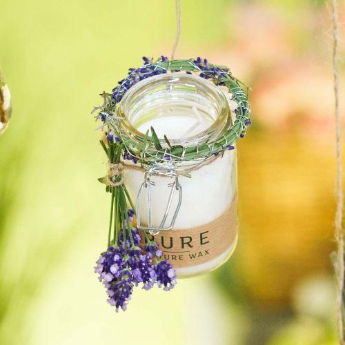 Ljus i glasdekoration med lock Pure Nature vaxljus bivax olivolja