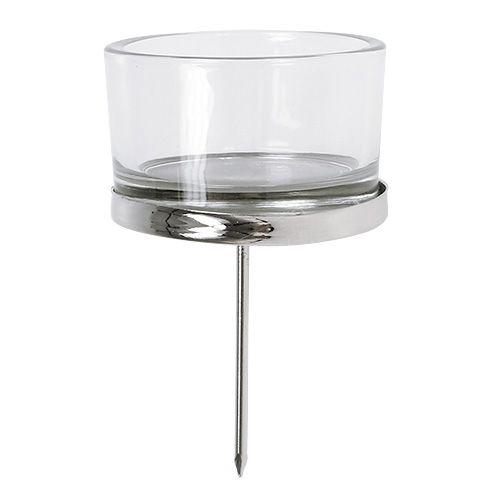 Ljusstake med glas silver 4st