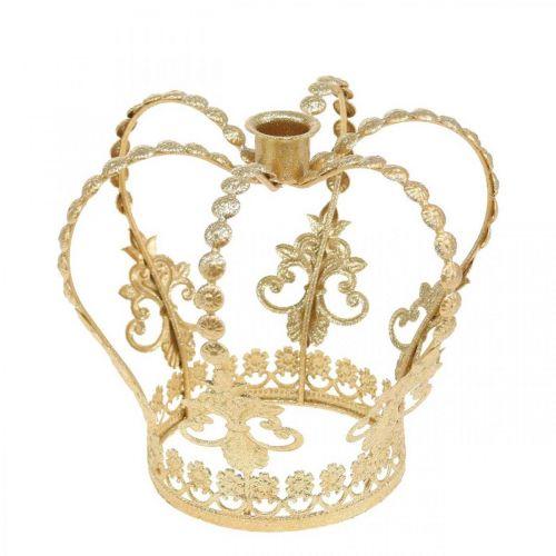 Ljusstake krona, bordsdekoration, advent, metallkrona Gyllene Ø14cm H13cm