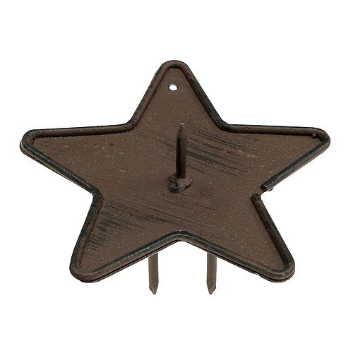 Ljusstake stjärna för stick 9cm brun