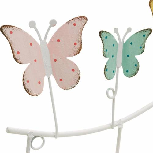 Vårdekoration, krokstång med fjärilar, metalldekoration, dekorativ garderob 36cm