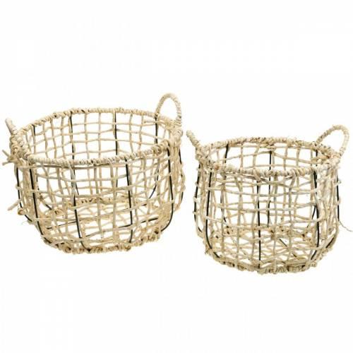 Flätad korg av havsgräs, dekorativ korg, förvaringskorg, handtagskorg runt Ø36 / 28, uppsättning 2