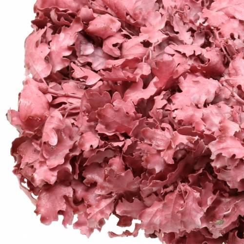 Krans av ekblad rosa vaxad Ø38cm