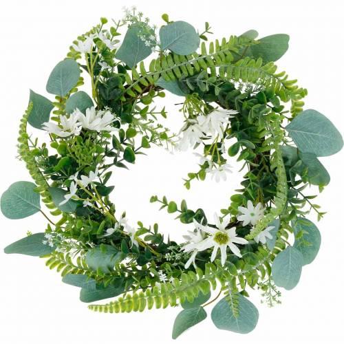Konstgjord eukalyptuskrans med ormbunke, cape daisy och jasmin, dörrkrans, dekorativ krans, bordsdekoration