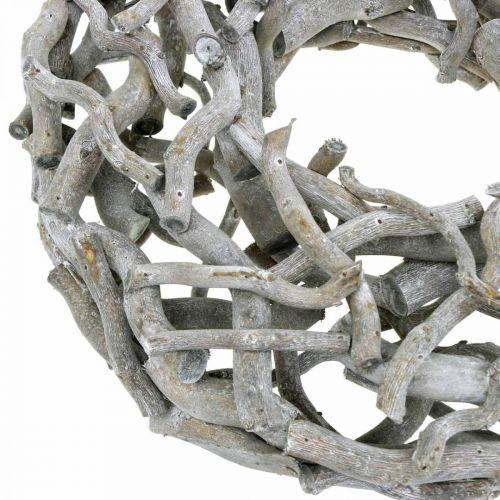 Dekorativ krans, träkrans, kalkad grå, korkskruv pil Ø40cm