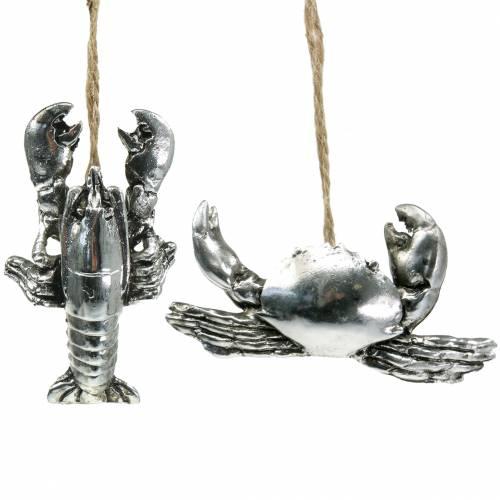 Deco cancer och hummer för att hänga antik silver 9cm 2st