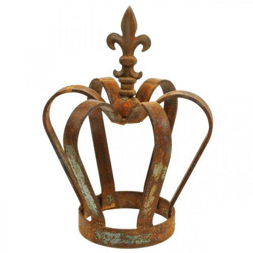 Vintage dekorativ krona rostfritt stål metall dekoration Ø20cm H28cm