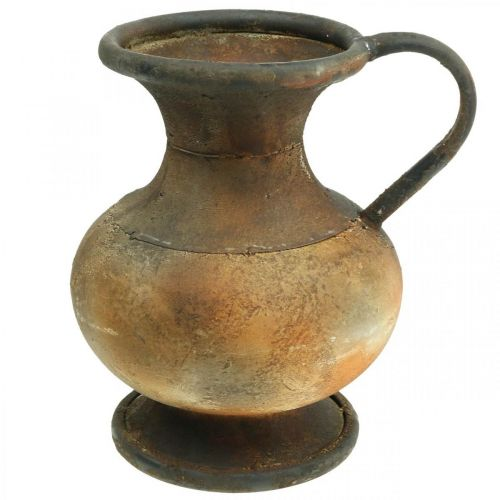 Dekokanna antik look vas vintage metall trädgård dekoration H26cm