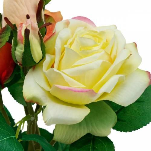 Konstgjorda blommor, bukett rosor, bordsdekorationer, sidenblommor, konstgjorda rosor gul-orange
