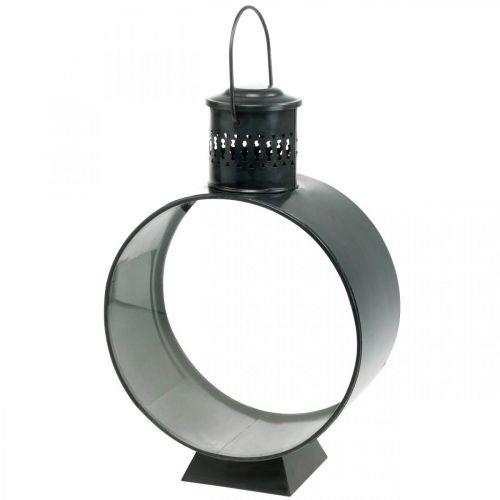 Rund dekorativ lykta, rustik ljusdekoration, metallvindlampa Ø20cm H30cm