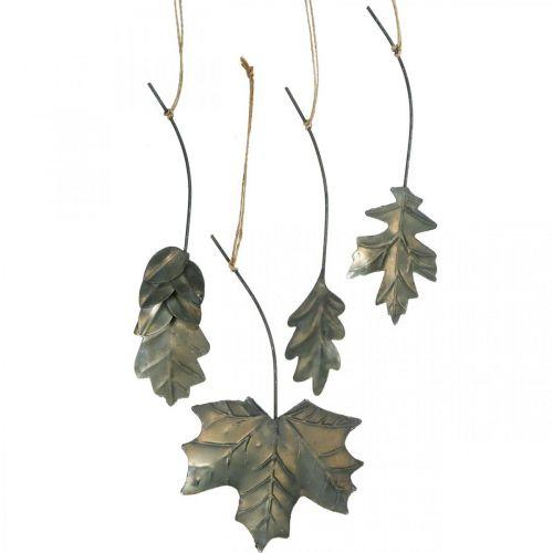 Lämnar metall för att hänga antikgrå höstlöv 7,5-10 cm 4st