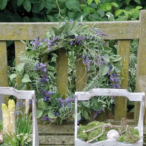 Medelhavslavendelkrans Ø50cm, konstgjord blommakrans med lavendel och rosmarin