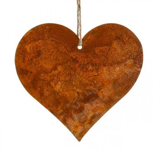 Metallhjärtor, dekorativa hängen, rostdekor 19 × 20 cm 4st