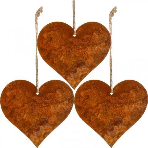 Hjärtan att hänga, höst, metall dekoration patina 9,5 × 10 × cm 12st