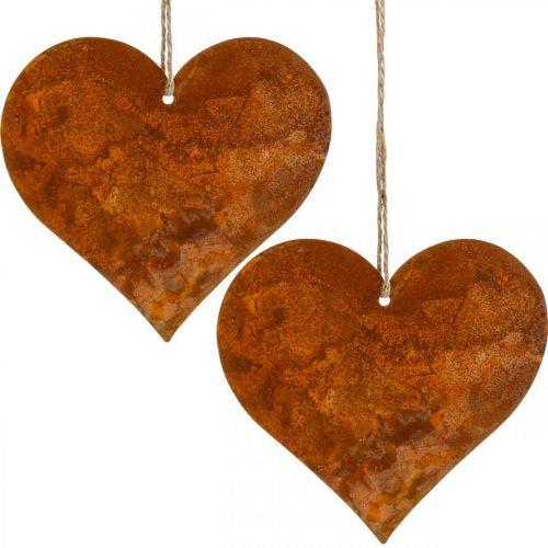 Dekorativa hjärtan av metall, höstdekorationer, dekorativa hängen, rostfritt stål 14 × 15cm 6st