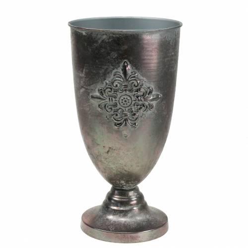 Dekorativ metallbägare med ornament silvergrå Ø16,5cm H31cm