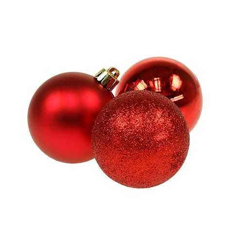 Mini julgranskulorröd Ø3cm 14st