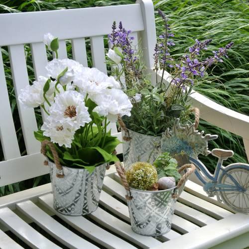 Vallmo i en blom- dekoration för blomkruka vit siden