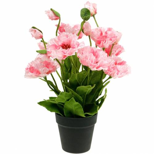 Orientalisk vallmo, konstgjord blomma, vallmo i rosa kruka