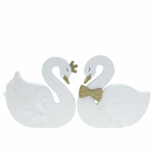 Dekorativa svanar bröllop träguld 12x13cm 2st
