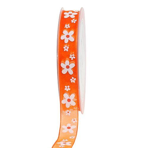 Organza band orange med blommotiv 15mm 20m