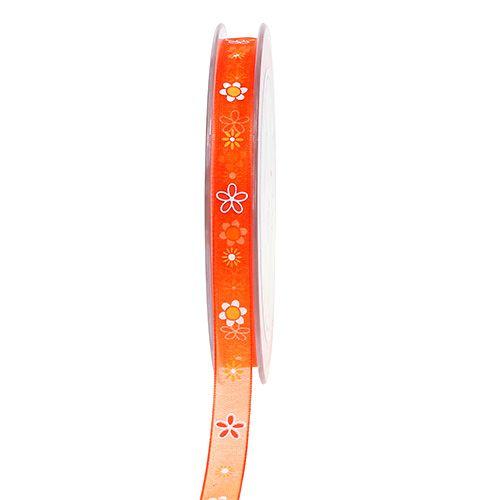 Organza band orange med mönster 10mm 20m