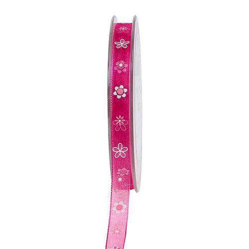 Organza band rosa med mönster 10mm 20m