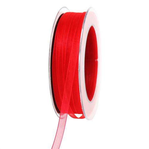 Organza band med selvedge röd 7mm 50m