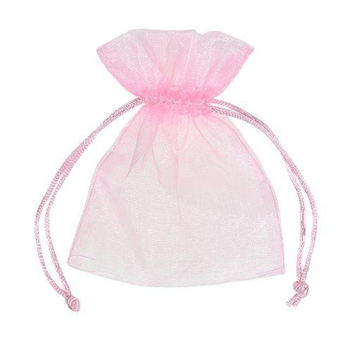 Organza väska rosa 12x9cm 10st