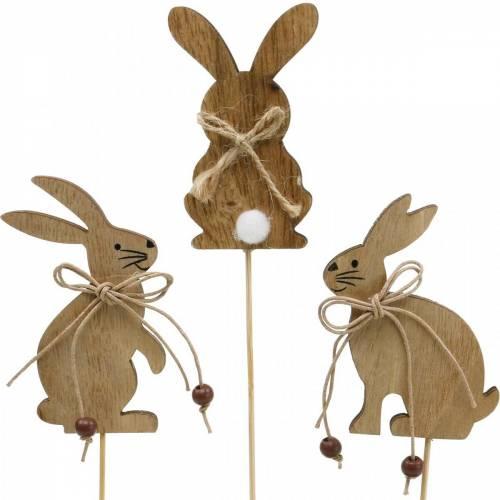 Påskharen på en pinne dekorativ pluggkaniner trä natur påskdekoration 24st