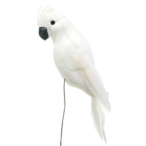 Papegojor med fjädrar vit Konstgjord kakadodekoration fågel 4st