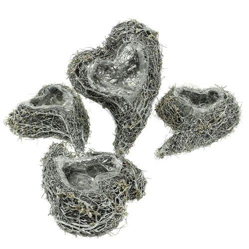 Plantera hjärta vinstockar 15cm x 23cm x5cm vit 4st