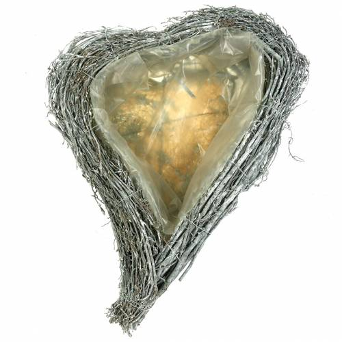 Växt hjärta grenar vit tvättade 40cm x 30cm