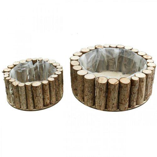 Planterskål rund bark trä dekoration Ø34 / 24cm uppsättning 2
