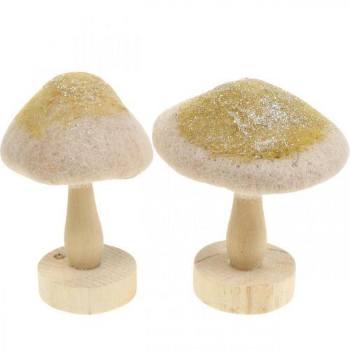 Dekorativt svampträ, filt med glitter, bordsdekor Advent H11cm