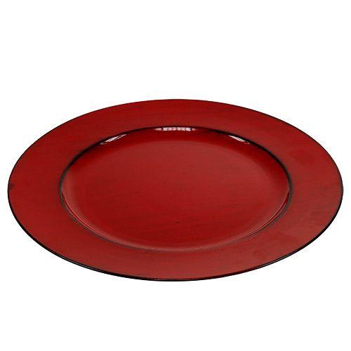 Plastplatta Ø33cm röd-svart