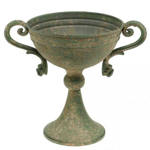 Kopp med handtag, metallbägare, amfora för plantering Ø14cm H18cm