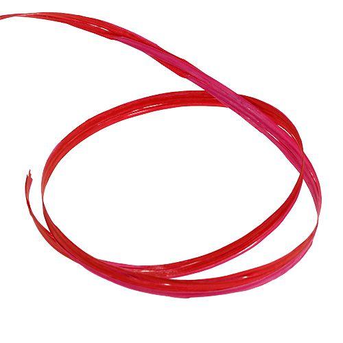 Raffia två-ton röd-rosa 200m