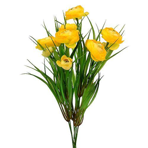 Ranunculus bukett med gräs 35 cm gul
