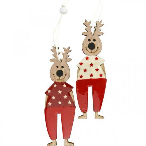 Ren att hänga, julpynt, julgransdekorationer, träpynt till advent H13cm 8st