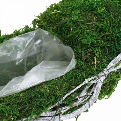 Mosskrans växtring med vinstockar och mossgrön, vit Ø35cm