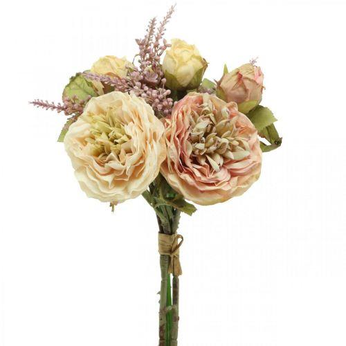 Rosor konstgjorda blommor i ett gäng höstbukettkräm, rosa H36cm