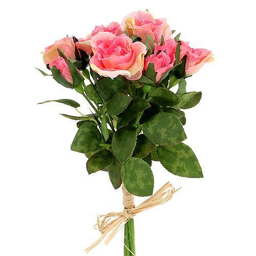 Rosebukett i rosa L26cm 3st