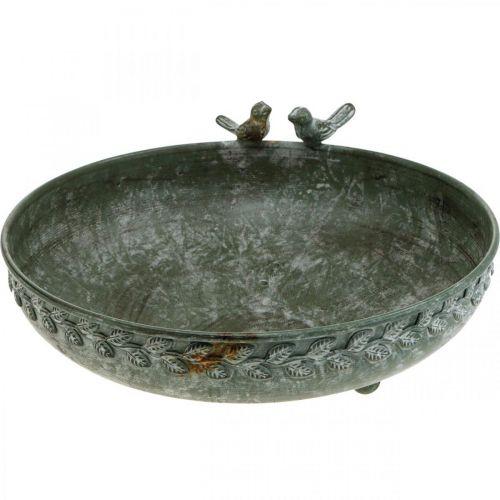 Fågelbad skål fågelbad antik look grå, vit Ø30cm