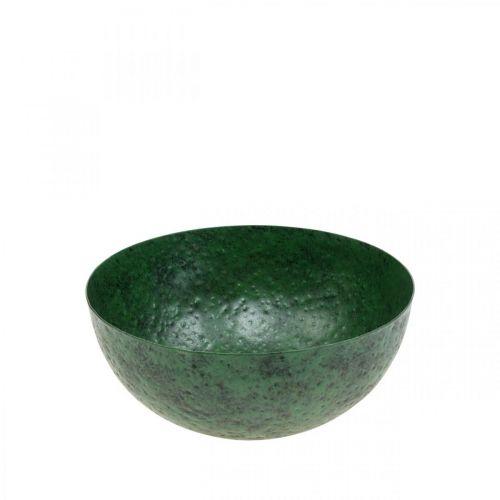 Dekorativ skål metallgrön bordsdekoration Vintage Ø21cm