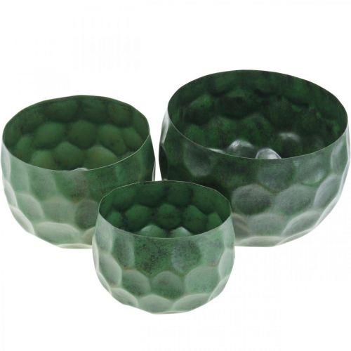 Dekorativ skål metallgrön vintage planteringsplatta Ø25 / 20,5 / 16,5 cm uppsättning 3
