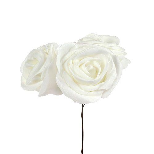 Skumrosor vit med pärlemor Ø6cm 24st