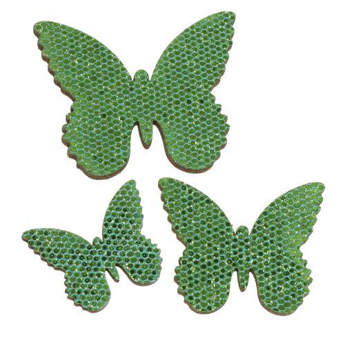 Scatterdekoration fjärilsgrön glitter 5/4 / 3cm 24st