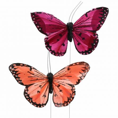 Fjäderfjäril med trådfärgad lax och lila 10 cm 12 st