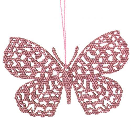 Dekorativ hängande fjärilsrosa glitter 10cm 6st